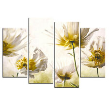 Flower Canvas Print Painting Modern Yellow White Floral Wall Art Giclee 4 Pcs