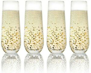 Stemless Champagne Wine Flutes Glassware Set of 4 Crystal Drinking Glasses LUXH