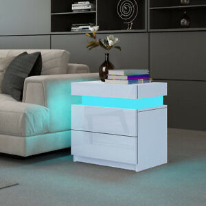 Modern High Gloss Bedside Table 2 Storage Drawers Nightstand Cabinet White LED