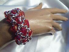 RUBY RED Aurora Borealis Glass Crystal SILVERTONE Chain Stretch Bracelet LA15B52