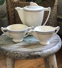 Vtg Art Deco China/ Porcelain Coffee/Tea Pot+Creamer + Sugar Blue+silver Stripes