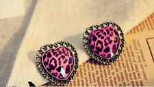 Hot New Fashion Women Vintage Leopard Love Heart Earrings Retro Ear Stud Jewelry