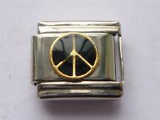 SILVER CLASSIC ITALIAN CHARM PEACE SIGN fits all design 9mm bracelet link AG14