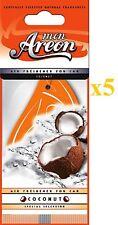 5 X MON areon noce di cocco AUTO ARIA Deodoranti qualità PROFUMO UFFICIO TAXI