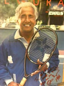 1986 Tennis Poster -Pancho Segura  19 x 25 Autographed