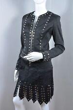 ALBERTO MAKALI Sexy Studded Gladiator Black Jacket & Skirt Set Club Wear 6 NEW