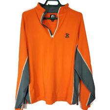 Footjoy Mens Medium Sweater Shirt Long Sleeve 1/4 Zip Pullover Orange