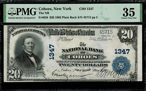 1902 $20 National - Cohoes, New York - Plain Back - FR.650 Charter 1347 - PMG 35