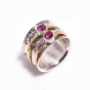 925 Sterling Silver Meditation Spinner Ring, Ruby Gemstone Women Jewelry R5158a