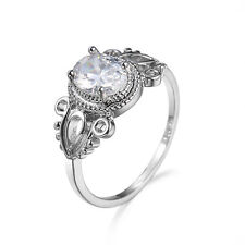 Elegant 925 Sterling Silver Oval Wedding Engagement White Topaz Ring Size: 9