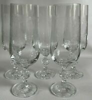 "5 Cascade Bohemian Crystal Etched Wine Goblets Cut Ball Stem 6.75"" Tall EUC"