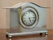 CA 1900 LIBERTY & CO LONDON STERLING SILVER PLATED ARCHIBALD KNOX MANTLE CLOCK