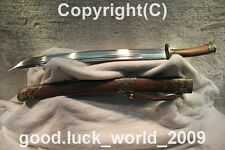 "High Quality Chinese Sword ""Qing Dao"" Pattern Steel Sharp Blade Alloy Fitting"