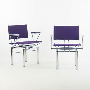 1980's Hans Ullrich Bitsch for Kusch+Co Dining Side Chairs Purple Fabric Pair