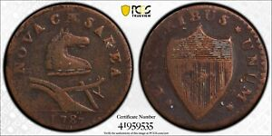 1787 New Jersey Colonial Coin Small Plan Plain Shield PCGS VF Detail Env Damage