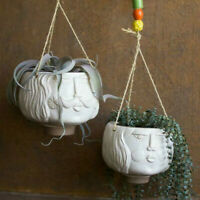 Ceramic Hanging Head Planter Man Woman Set Of 2 Face Planters