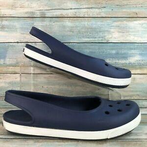 Crocs Womens Blue Rubber Slingback Flats Shoes Slip On Lightweight Casual 10M