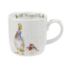 Royal Worcester Wrendale Designs 2018 Christmas mugs All Wrapped Up Duck & Robin