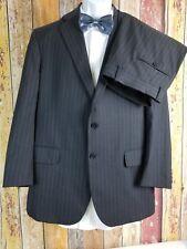 Tom James Men's Wool Dark Gray Striped 2 Piece Suit 40 Regular 35x28