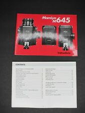 Mamiya M645 Camera Instruction Manual / User Guide (Missing Staples)