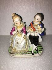 Art Deco Vintage French Couple Porcelain Statue Figure 5.5 Inches Tall