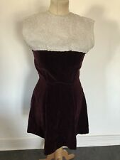 VINTAGE 60's RED VELVET & BROCADE MOD MINI EVENING DRESS UK 8 SMALL