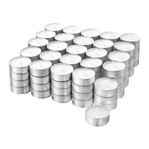 100x IKEA GLIMMA White Tealight Candles (3.8cm Diameter/4hr Burn Time)