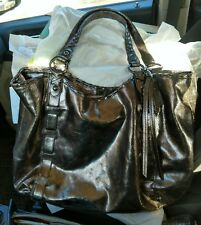 Coach Dylan Limited Edition Metallic Cracked Leather Gun Metal Gray Tote EUC