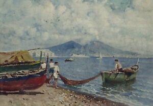 PASQUALE D'ANGELO (Italian 1896-1955) Oil on canvas Naples? fishing scene