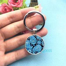 Blue Paisley Art Photo Tibet Silver Key Ring Glass Cabochon Keychains -357