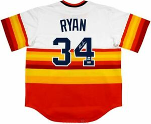 Nolan Ryan Signed Houston Astros Rainbow Cooperstown Collection Jersey TRISTAR
