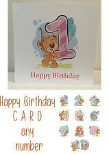 Happy Birthday Card, Kid's Age   Teddy Bear   Fun/Novelty Card   1, 2, 3, 4, 5,