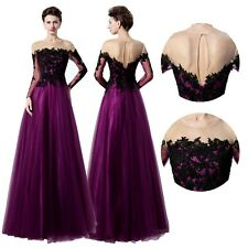 New Long Sleeves Evening Prom Dress Purple Tulle Lace Party Ball Gowns 6 8 10 12