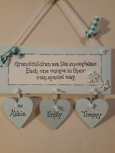 PERSONALISED GRANDCHILDREN GRANDPARENTS GIFT PLAQUE WOODEN HANGING HEART SIGN