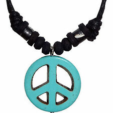 Turquoise Peace Sign Symbol Pendant Chain Necklace Mens Womens Ladies Jewellery