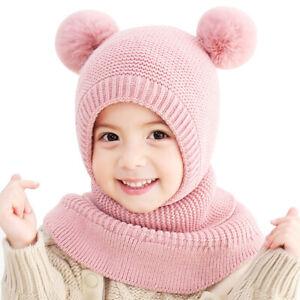 Kids Girls Double Pompom Winter Hat Scarf Toddler Beanie Earflap Hood Ski Cap