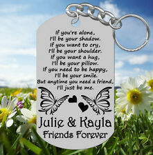 Sweet BEST FRIENDS Keychain Gift, Personalized FREE with NAMES, Long Quote