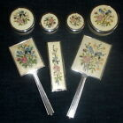 Vintage+Art+Deco+7-Piece+Embroidered+Dressing+Table+Set+Brushes+Mirror+%26+Pots