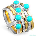 Stacking Sterling Silver Ring 925 Solid Turquoise Gemstone Genuine Wide Band Sz
