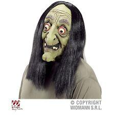 Hexenmaske mit Haaren Latex-Maske Hexe für Erwachsene Halloween Karneval
