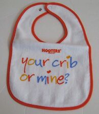 """NEW NWT Officially licensed HOOTERS """"Your crib or Mine? terry cloth Baby Bib"""