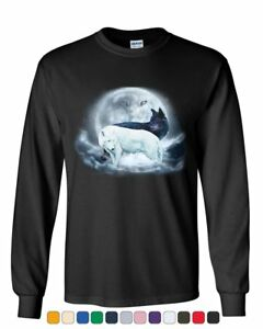 Yin & Yang Wolves Long Sleeve T-Shirt Animals Wildlife Nature Wolf Pack Moon Tee