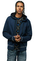 True Religion Men's Indigo Full Zip Up Hoodie Sweatshirt in Blue Combo
