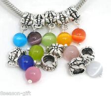 10Mixed Cat's Eye GlassDangle Bead Fit Charm Bracelet