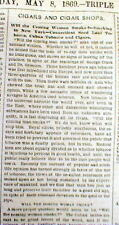 1869 newspaper with long report on CIGARS & can WOMEN be convinced to SMOKE THEM