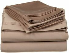100% Cotton 400 Tc 4 Piece Sheet Set 15'' Drop Size Queen Taupe Solid Lw