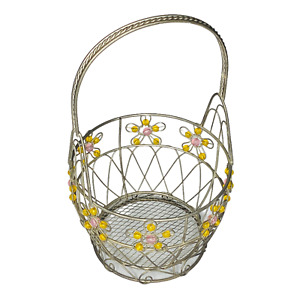 Metal Wire Basket With Yellow and Pink Glass Flower Design 11.5 Inches Tall