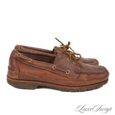 #1 MENSWEAR Orvis x Gokey Hand Made in USA Brown Leather Boat Moccasin Shoes 9.5