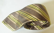 Kenzo Homme Brown With A Multi Coloured Stripe Design Silk Mens Tie