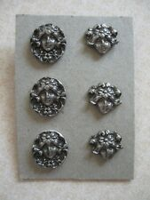 6 Vintage Cast Pewter Buttons Art Nouveau Woman's Face